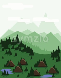 Abstract landscape with pine trees, brown houses, blue lakes, green hills and mountains, over a light green background with white clouds. Digital Stock Vector