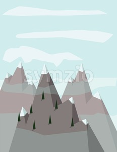 Abstract landscape with pine trees on silver mountains with snow on top, over a light blue background with white clouds. Digital vector image. Stock Vector