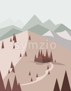 Abstract landscape in red style with pine trees, a house with a road, green hills and mountains, over a light background. Digital vector image. Stock Vector