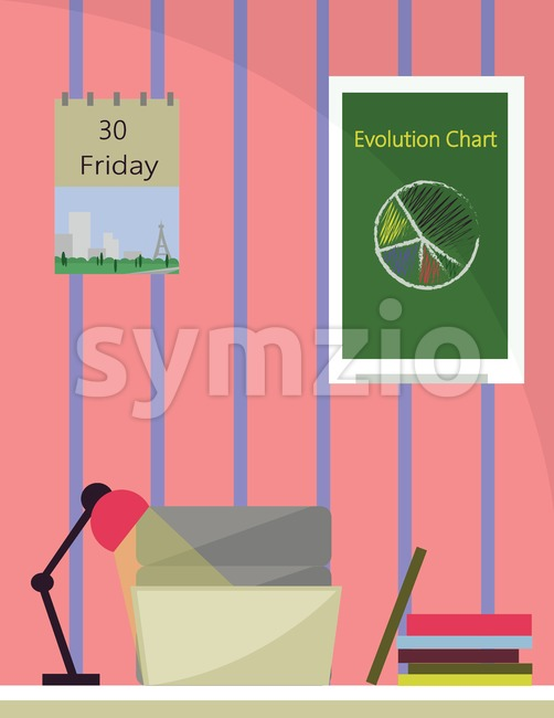 An office room with lamp on desk, books and a printer with notebook. Calendar and chart graphics on the wall. Digital vector image. Stock Vector