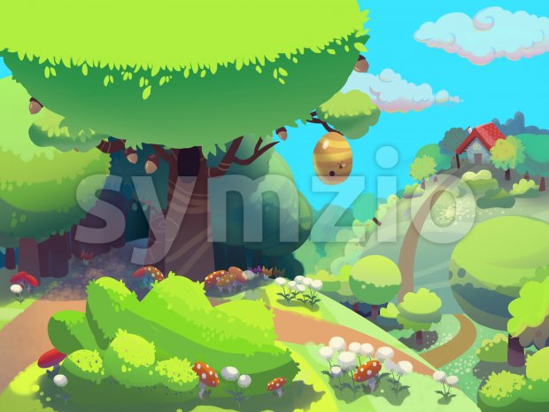 Bee tree in the forest near granny's house drawn in cartoon style. Digital background raster illustration. Stock Photo