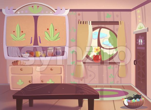 Living room drawn in cartoon style raster illustration. Stock Photo