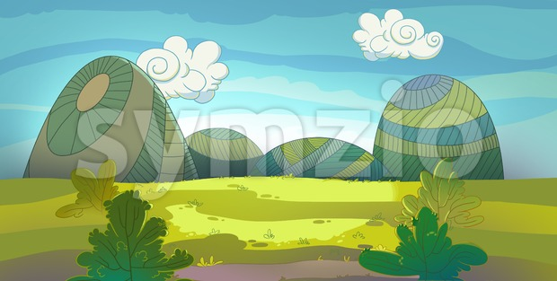 Green meadow raster illustration drawn in cartoon style. Stock Photo