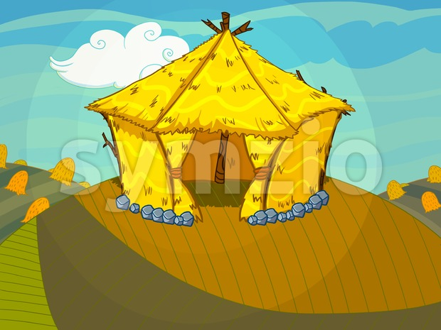 Straw bale house on the hill raster illustration drawn in cartoon style. Stock Photo