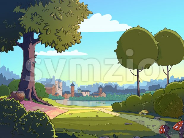 Green glade cartoon landscape background. Raster colorful illustration of a park near a town. Stock Photo