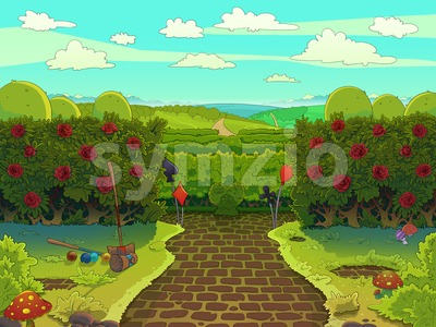Croquet court with red roses, green garden with a paved road illustration. Raster image drawn in a cartoon style. Stock Photo