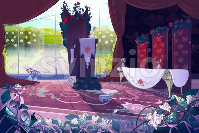Queen's palace interior, court, jury. Fairy tale cartoon stylish raster illustration. Stock Photo