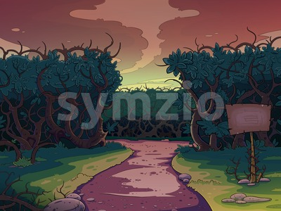 Lonely road between the bushes at sunset. Fairy tale cartoon stylish raster illustration. Stock Photo