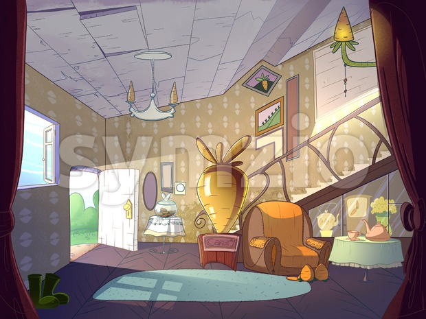 Rabbit house, living room interior. Fairy tale cartoon stylish raster illustration. Stock Photo