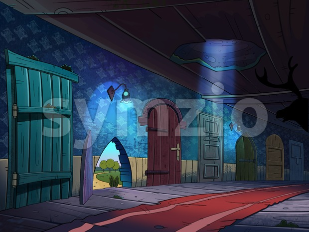 Hallway with many doors which lead into magical worlds. Fairy tale cartoon stylish raster illustration. Stock Photo
