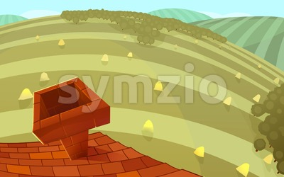 Red tiles roof with a chimney and round hills in the background. Cartoon stylish background raster illustration. Stock Photo