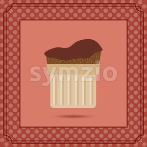 Red candy card with a chocolate cream cake, frames and white dots. Digital vector image. Stock Vector