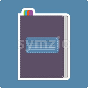A dark purple writing notebook card with colored marks, over a blue background, digital vector image. Stock Vector