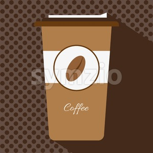 A brown cup of hot coffee with a cap and the logo of a coffee bean, in outlines, over a brown background with dots, digital vector image Stock Vector