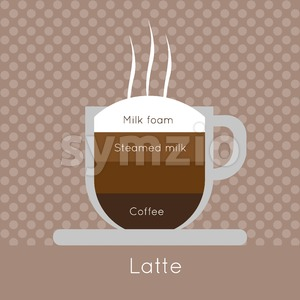 A cup of coffee with steam, with milk foam, steamed milk and latte inscriptions, in outlines, over a brown background with dots, digital vector image Stock Vector