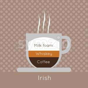 A cup of coffee with steam, with whiskey and irish inscriptions, in outlines, over a brown background with dots, digital vector image Stock Vector