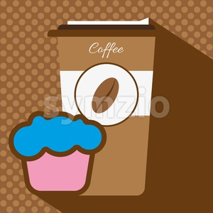 A brown coffee cup with a bean logo, a pink and blue cake, in outlines, over a brown background with dots, digital vector image Stock Vector
