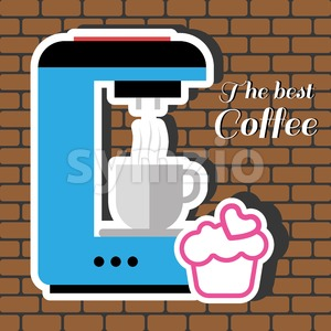A blue coffee maker machine with a cup of coffee, a pink cake with heart and best coffee inscription, in outlines, over a brown background with Stock Vector