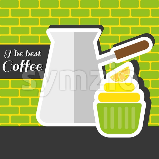 A silver metal jar of coffee with a green cake with a slice of lemon on top and best coffee inscription, in outlines, over a green and yellow Stock Vector