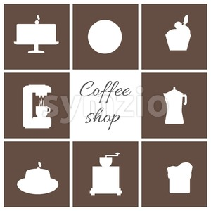 A monochrome set of coffee items, cup of coffee with steam, cake, glass, jug, jar, with coffee shop inscription, in outlines, over a brown background, Stock Vector
