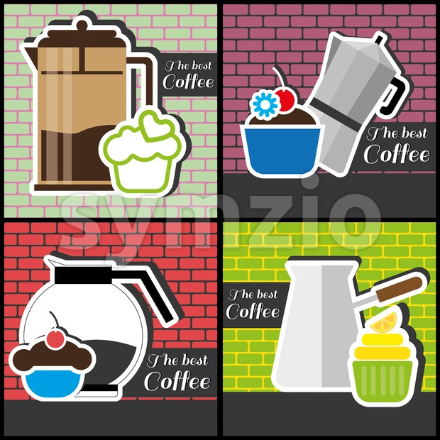 A set of coffee items, jars of coffee and cakes, in outlines, over colored backgrounds with bricks, digital vector image Stock Vector