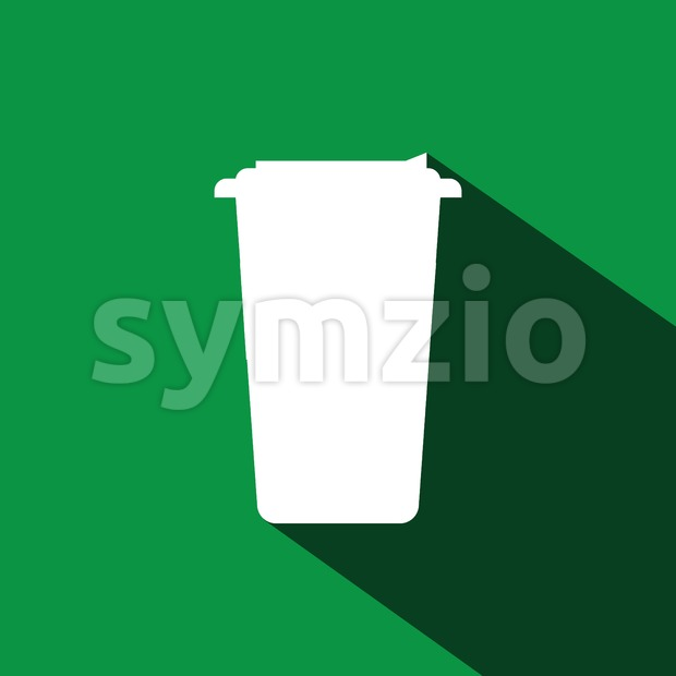 A white cup of coffee with a cap and shadow in outlines, over a green background, digital vector image Stock Vector