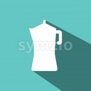 A white metallic coffee jar with shadow, in outlines, over a green background. Digital vector image. Stock Vector