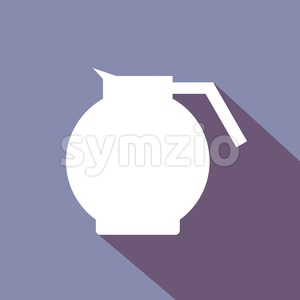 A white coffee jar with shadow, in outlines, over a purple background. Digital vector image. Stock Vector