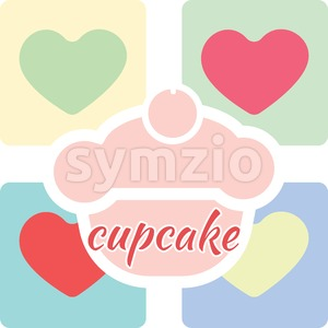 Candy card with a big fruit cream cake with cherry on top, over colored background with hearts and cupcake text. Blue, yellow, red, pink and green. Stock Vector