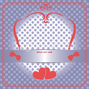 Candy card with red frames, over white and purple background with dots. Sample text. Digital vector image. Stock Vector