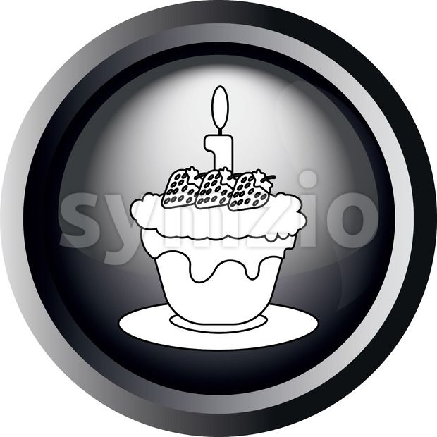 Card with a cake with strawberries with seeds and burning candle on top, in round frame in 3d over a white background, in black and white outline Stock Vector
