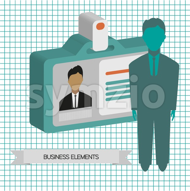 Business infographic with person and badge, flat design. Digital vector image Stock Vector