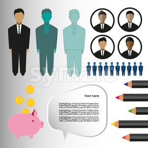 Business infographic with icons, persons, pencils and money box, flat design. Digital vector image Stock Vector