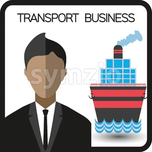 Transport business with a person and a ship, flat design. Digital vector image Stock Vector