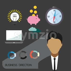 Business direction infographic with icons, persons and money, flat design. Digital vector image Stock Vector