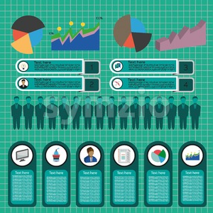 Business idea infographic with icons, persons, money, charts and papers, flat design. Digital vector image Stock Vector