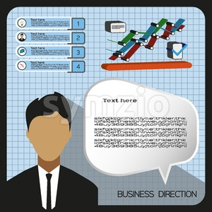 Business elements infographic with icons, charts and person, flat design. Digital vector image Stock Vector