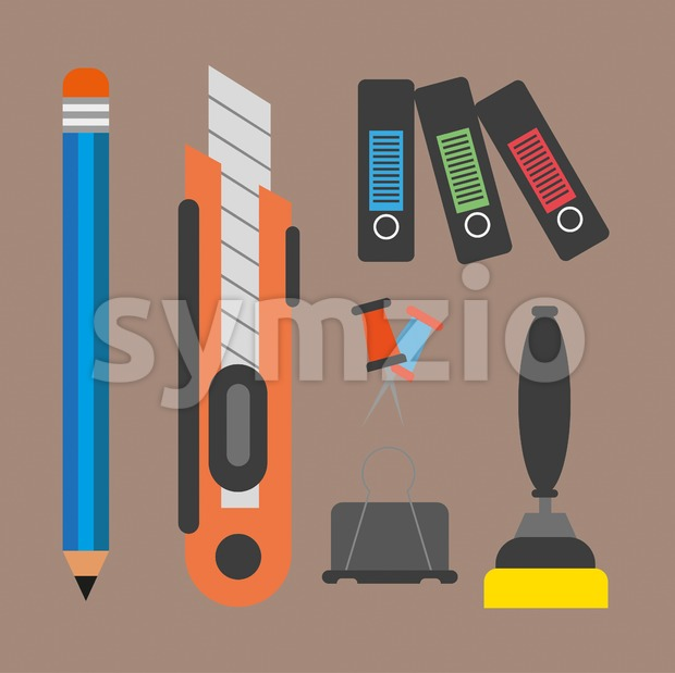Business elements infographic with icons and office accesorries, flat design. Digital vector image Stock Vector