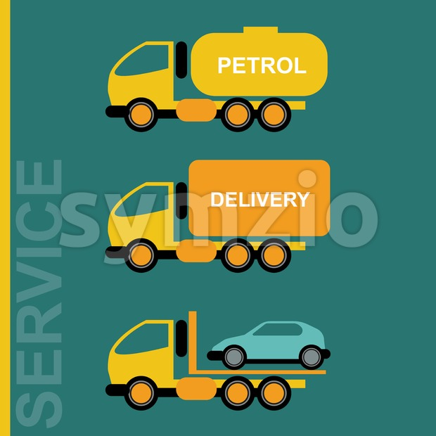 Delivery Cars. Petrol transportation truck. Car transporter. Various freighter automobiles. Isolated objects on green backdrop. Vector digital Stock Vector
