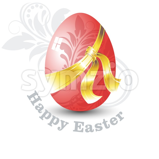 Happy Easter Card. Red Easter Egg with Floral Ornate Design and Golden Ribbon. Digital background vector illustration. Stock Vector
