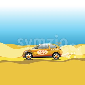 Rally in a desert. Racing car safari trip. Sport car driving on a sandy road. Blue sky and yellow sand. Digital vector illustration. Stock Vector