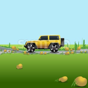 Yellow offroad car on a countryside. Auto trip. Green meadows and blue sky with no clouds. Digital vector illustration. Stock Vector