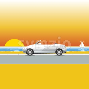White convertible on a sunny beach road. Traveling flyer illustration. Summer Vacation Poster or Banner. Beautiful sunset at the sea. Seaside view. Stock Vector