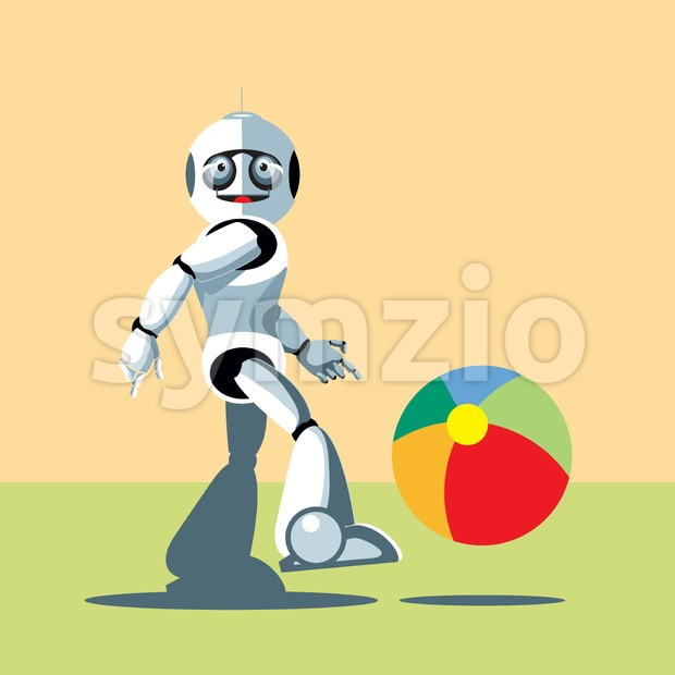 Silver humanoid robot playing with a colorful ball. Digital background vector illustration. Stock Vector