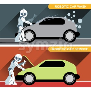 Silver humanoid robots fixing and washing cars with tools at an auto service. Digital background vector illustration. Stock Vector