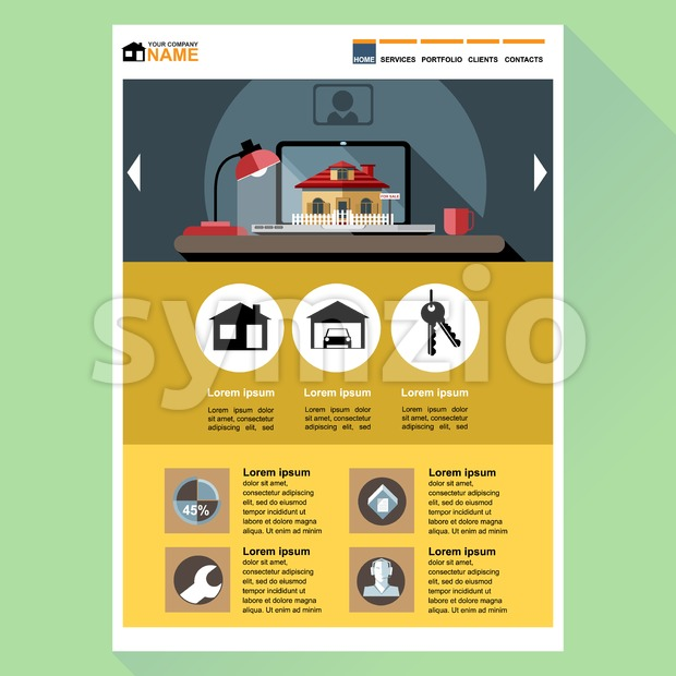 House building company web site theme layout. Digital background vector illustration. Stock Vector