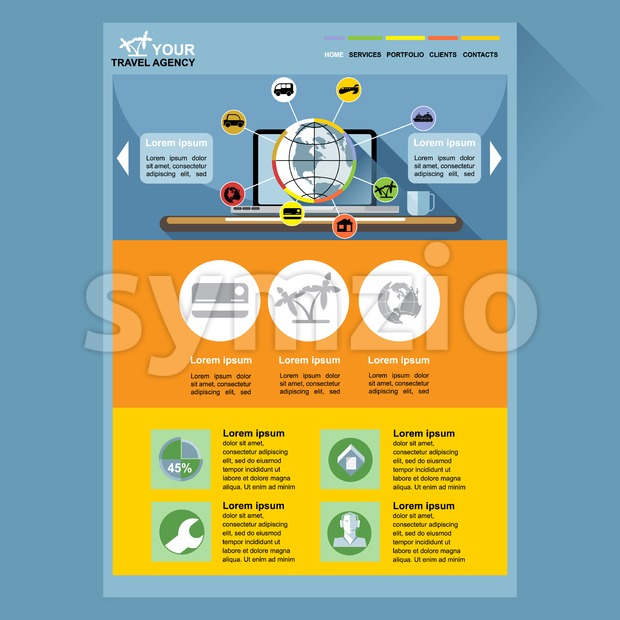 Travel agency web site theme layout. Digital background vector illustration. Stock Vector