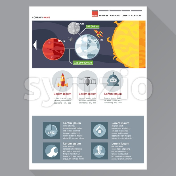 Space and cosmic exploration company web site theme layout. Digital background vector illustration. Stock Vector
