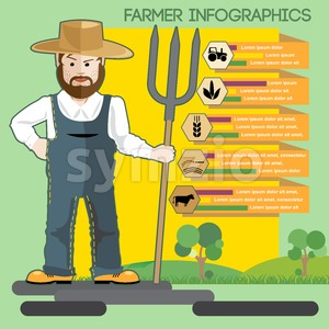 Farmer with beard and hat presenting an infographic Stock Vector