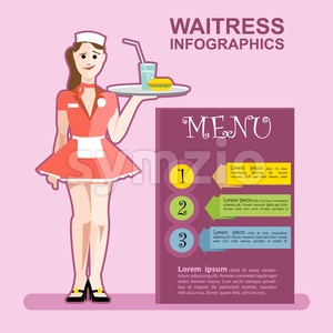 Waitress girl in red wearing cook with a cocktail in a pink restaurant presenting menu infographics Stock Vector